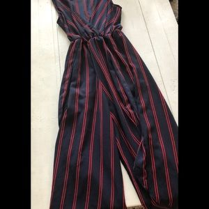 Pants - SCOPE Navy/Red striped Jumpsuit large